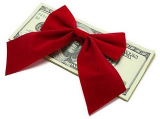 money represented as christmas gift