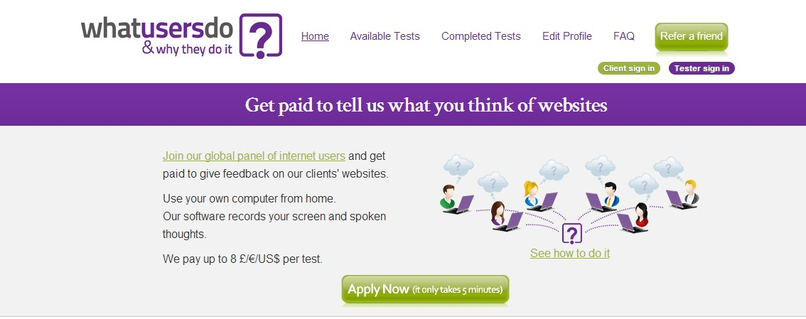 Test websites and earn money - whatusersdo.com