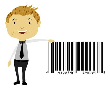 Man Beside a Giant Barcode Symbol, illustration