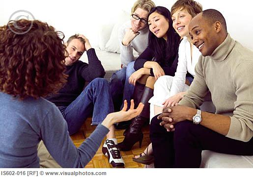 Friends talking in living room