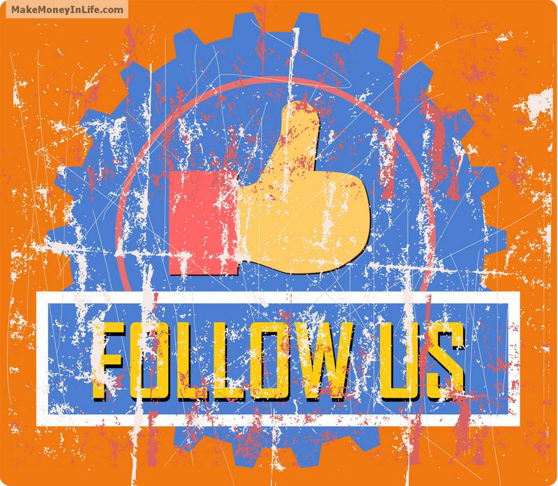 follow sign, vintage style, vector illustration