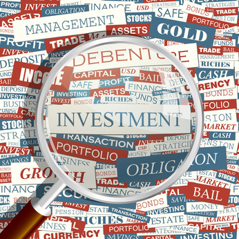 INVESTMENT. Word cloud concept illustration.