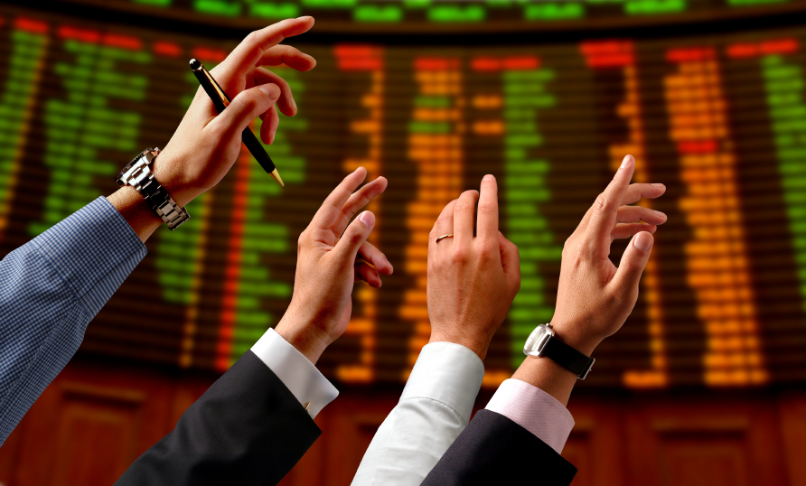hands on a stock market