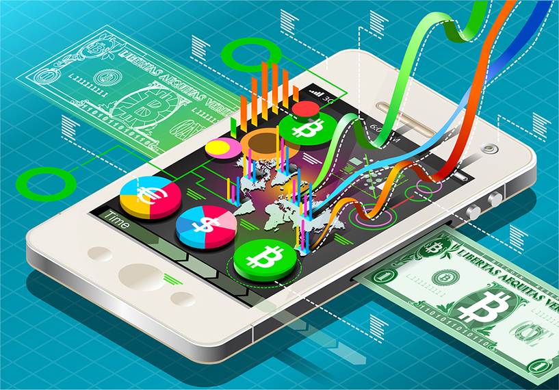 Detailed illustration of a Isometric Virtual Coin Infographic on Mobile Phone