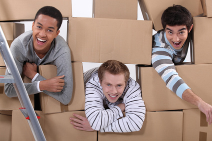 Three men moving house