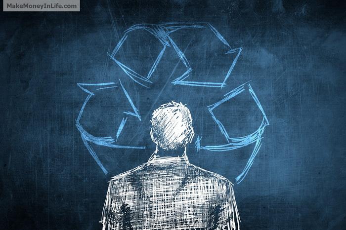 Sketch eco businessman concept, recycle symbol