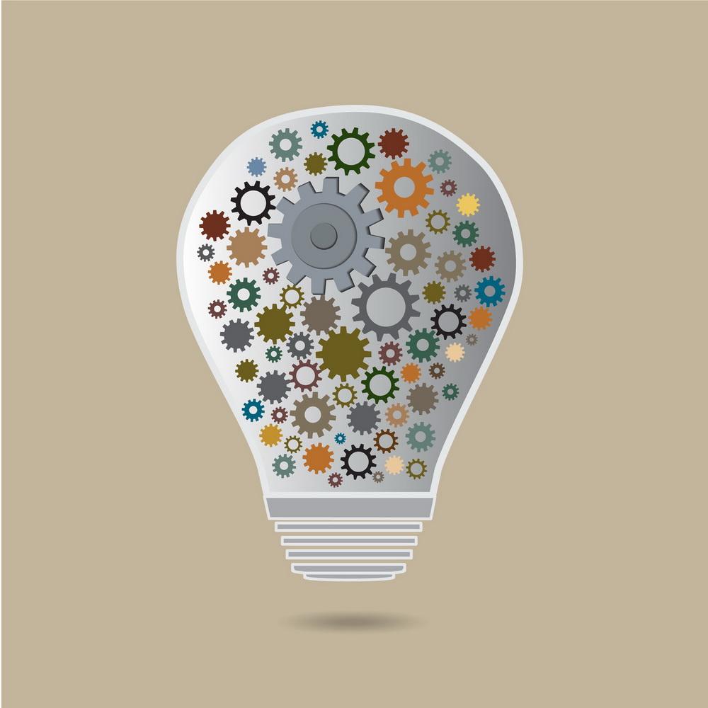 cog in the lamp vector icon, idea concept