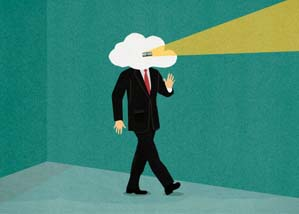 Businessman with head in the clouds looking through peephole --- Image by © Marcus Butt/Ikon Images/Corbis