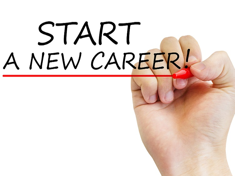 """Hand writing """"Start a new career"""" with marker, concept"""